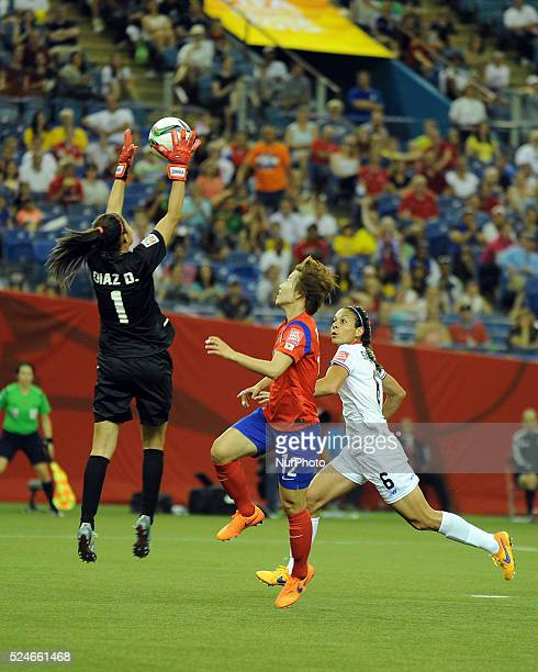 Montreal June 13 2015 YOO Younga of Korea Republic heads the ball with Dinnia Diaz and CAROL SANCHEZ of Costa Rica during their group E at the 2015...