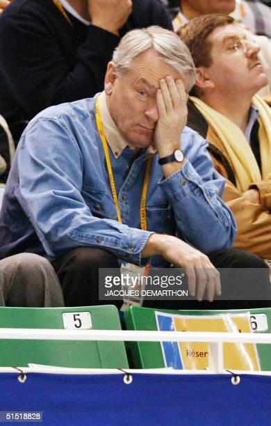 Montreal lawyer and chairman of the World Anti-Doping Agency Dick Pound watches the men's 1000m quarter-finals of the short track speed skating at...