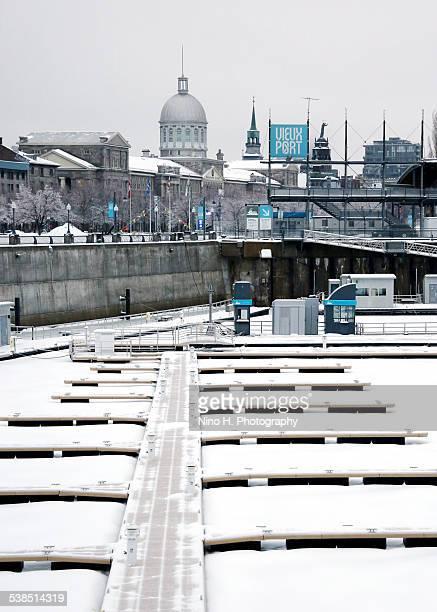 Montreal marina in winter