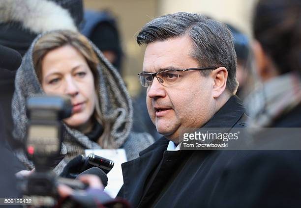 Montreal Mayor Denis Coderre attends a Public Memorial Service for Celine Dion's Husband Rene Angelil at NotreDame Basilica on January 21 2016 in...