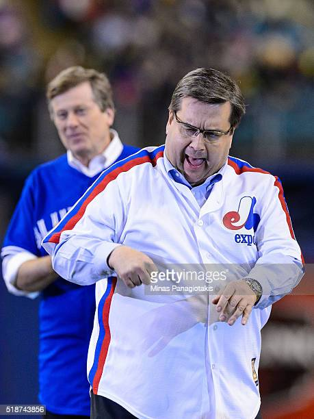 Montreal Mayor Denis Coderre reacts after throwing the ceremonial pitch during the MLB spring training game between the Toronto Blue Jays and the...