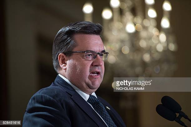 Montreal mayor Denis Coderre speaks at the C40 and Compact of Mayors briefing during the Climate Action 2016 conference in Washington DC on May 5...