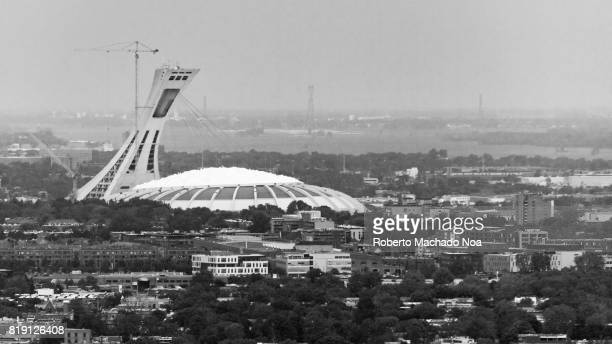 Montreal Olympic Stadium aerial view from the Belvedere CamillienHoude look out The multipurpose stadium is located in the HochelagaMaisonneuve...