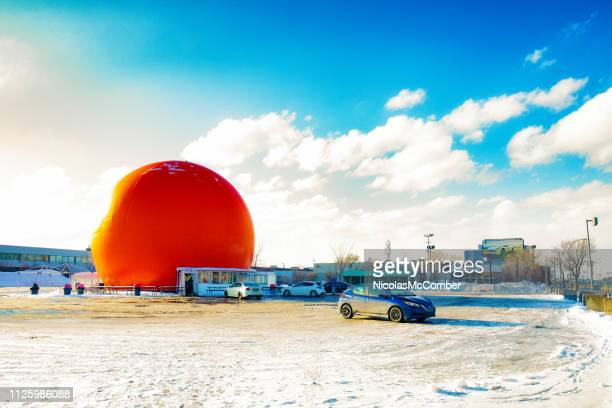 montreal orange gibeau fast food restaurant in winter - mint julep stock pictures, royalty-free photos & images