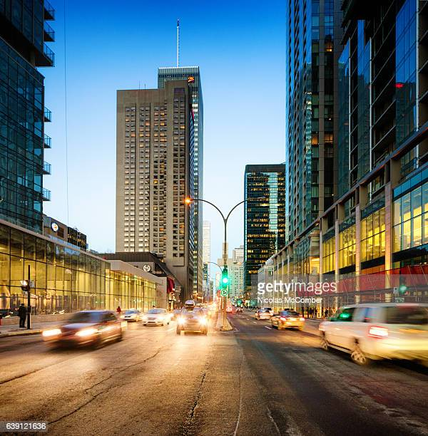 montreal rene levesque boulevard at sunset - montreal stock pictures, royalty-free photos & images