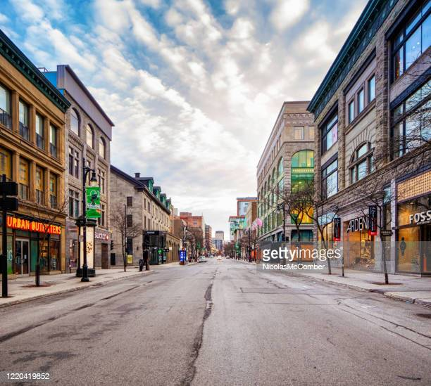 montreal sainte-catherine shopping street at sunset on an april cloudy day - 20th century style stock pictures, royalty-free photos & images