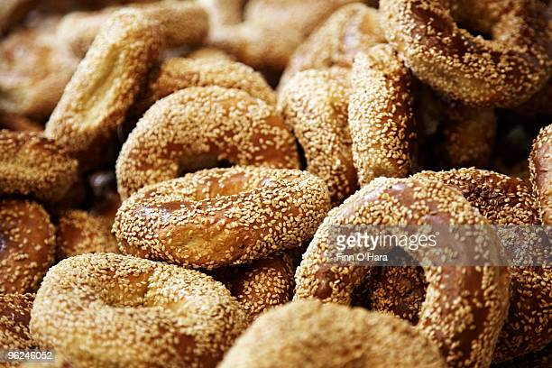 Montreal style bagels with sesame seeds.