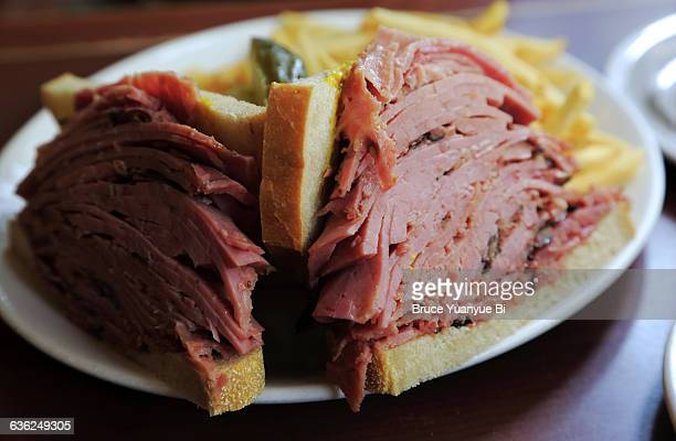 montreal style smoked meat sandwich - montréal stock pictures, royalty-free photos & images