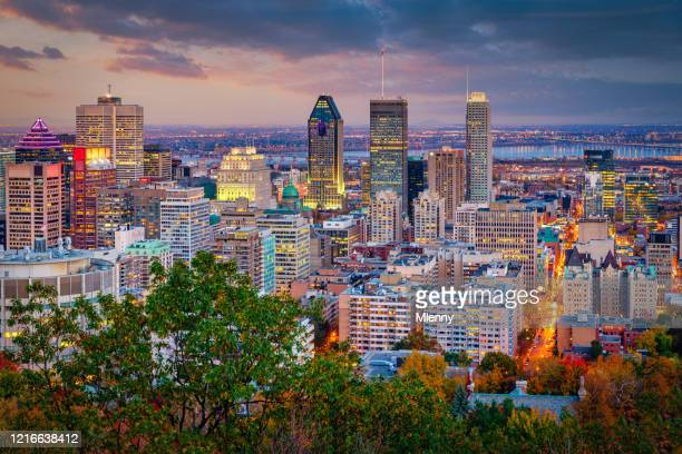 montreal sunset twilight skyscraper cityscape quebec canada - montreal stock pictures, royalty-free photos & images