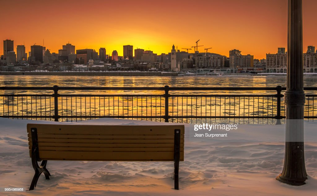 Montreal winter sunset DRI : Stock Photo