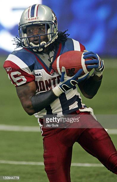 Montreal's Ezra Landry fields a punt as the Montreal Alouettes play the Toronto Argonauts in CFL Football action at Rogers Centre in Toronto....