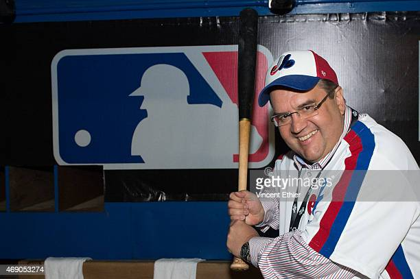 Montreal's Mayor Denis Coderre poses prior to the game between the Cincinnati Reds and the Toronto Blue Jays at Olympic Stadium on Friday April 3...