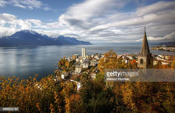 montreux in autumn - montreux stock pictures, royalty-free photos & images