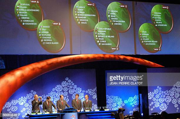 Ralph Zloczower Stephane Chapuisat Friedrich Sticker and Andi Herzog take part in the draw for the final stages of the Euro 2008 27 January 2006 in...