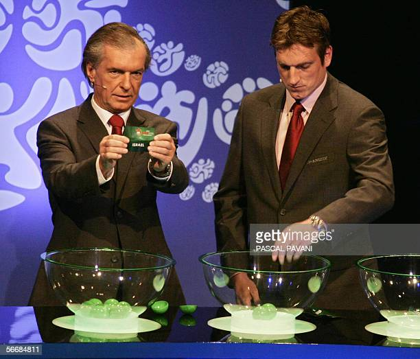The president of the Austrian football federation Friedrich Stickler and former Austrian player Andi Herzog pictured 27 January 2006 in Montreux...
