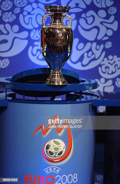 The UEFA Euro Cup is seen during the qualifying draw for the final stages of the Euro 2008 27 January 2006 in Montreux AFP PHOTO/JEANPIERRE CLATOT