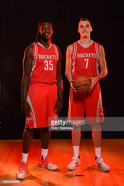 Montrezl Harrell and Sam Dekker of the Houston Rockets poses for a portrait during the 2015 NBA rookie photo shoot on August 8 2015 at the Madison...