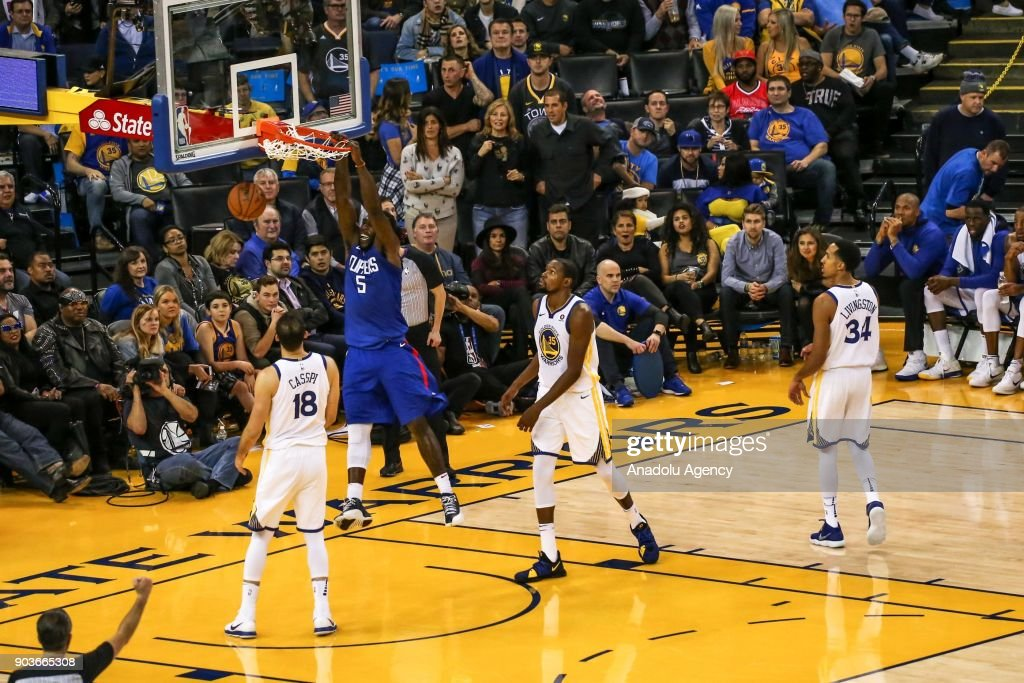 Montrezl Harrell (5) of LA Clippers in action during the NBA basketball game between LA Clippers and Golden State Warriors at Oracle Arena in Oakland, United States on January 10, 2018.