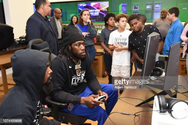 Montrezl Harrell of the LA Clippers and his foundation hosts twenty atrisk youth from the Boys and Girls Club of Venice Beach at Microsoft Store...