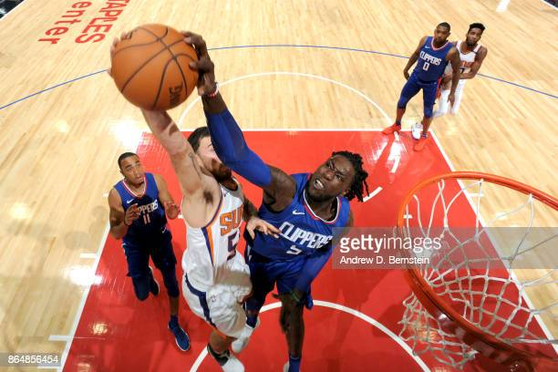 Montrezl Harrell of the LA Clippers blocks a shot against the Phoenix Suns on October 21 2017 at STAPLES Center in Los Angeles California NOTE TO...