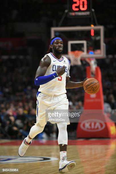 Montrezl Harrell of the LA Clippers brings the ball up the floor in the first half at Staples Center on April 11 2018 in Los Angeles California NOTE...