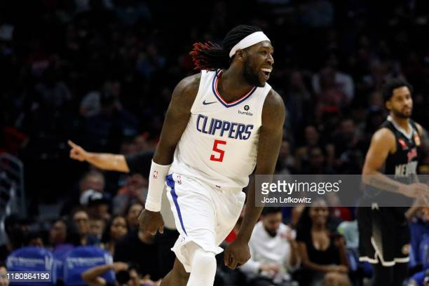 Montrezl Harrell of the LA Clippers celebrates after scoring a threepointer during the game against Melbourne United at Staples Center on October 13...