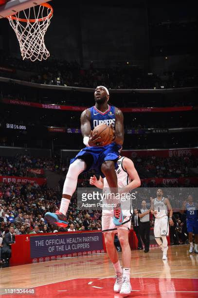 Montrezl Harrell of the LA Clippers drives to the basket during the game against the Brooklyn Nets on March 17 2019 at STAPLES Center in Los Angeles...