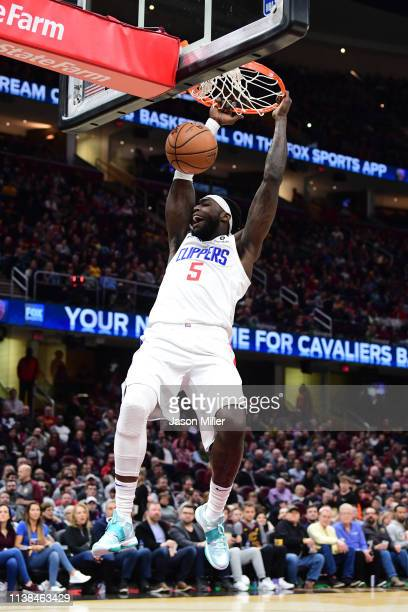 Montrezl Harrell of the LA Clippers dunks during the first half against the Cleveland Cavaliers at Quicken Loans Arena on March 22 2019 in Cleveland...