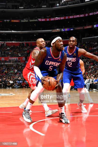Montrezl Harrell of the LA Clippers handles the ball against the Houston Rockets on October 21 2018 at Staples Center in Los Angeles California NOTE...