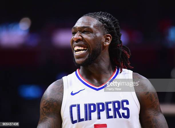 Montrezl Harrell of the LA Clippers laughs during a 113102 Clipper win over the Houston Rockets at Staples Center on January 15 2018 in Los Angeles...