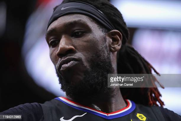 Montrezl Harrell of the LA Clippers prepares to reenter the game against the Chicago Bulls at the United Center on December 14 2019 in Chicago...