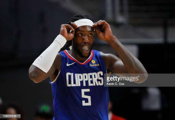Montrezl Harrell of the LA Clippers reacts after drawing a foul on a basket against the Atlanta Hawks at State Farm Arena on November 19 2018 in...