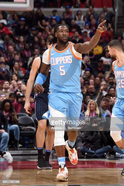 Montrezl Harrell of the LA Clippers reacts to a play during the game against the Orlando Magic on March 10 2018 at STAPLES Center in Los Angeles...