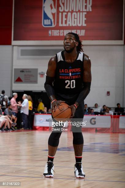 Montrezl Harrell of the LA Clippers shoots a free throw against the Milwaukee Bucks during the 2017 Las Vegas Summer League on July 10 2017 at the...