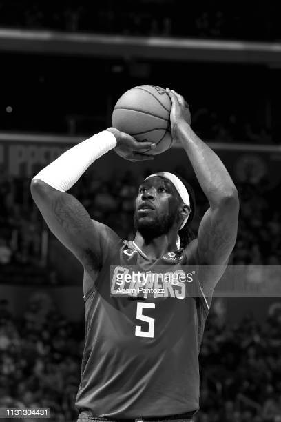 Montrezl Harrell of the LA Clippers shoots a free throw during the game against the Brooklyn Nets on March 17 2019 at STAPLES Center in Los Angeles...