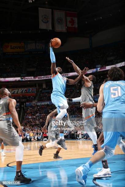 Montrezl Harrell of the LA Clippers shoots the ball during the game against the Oklahoma City Thunder on March 16 2018 at Chesapeake Energy Arena in...