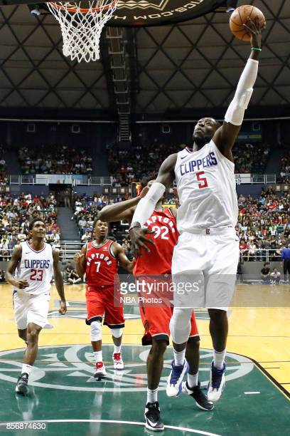 Montrezl Harrell of the LA Clippers shoots the ball during the preseason game against the Toronto Raptors on October 1 2017 at the Stan Sheriff...