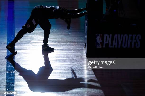 Montrezl Harrell of the LA Clippers stretches before the start of Game Six of the Western Conference First Round against the Dallas Mavericks during...