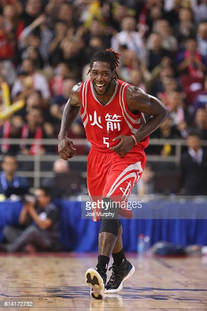 Montrezl Harrell of the Houston Rockets celebrates against the New Orleans Pelicans as part of the 2016 Global Games China at LeSports Center on...