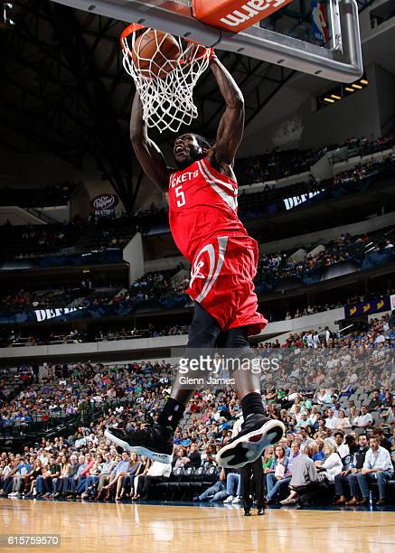 Montrezl Harrell of the Houston Rockets dunks the ball against the Dallas Mavericks during a preseason game on October 19 2016 at the American...