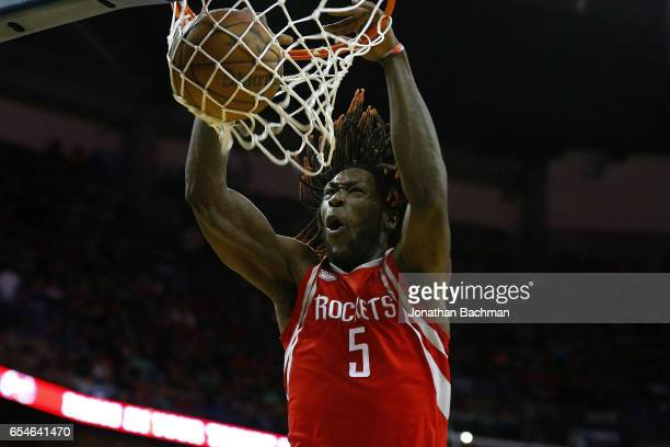 Montrezl Harrell of the Houston Rockets dunks the ball during the second half of a game against the New Orleans Pelicans at Smoothie King Center on...