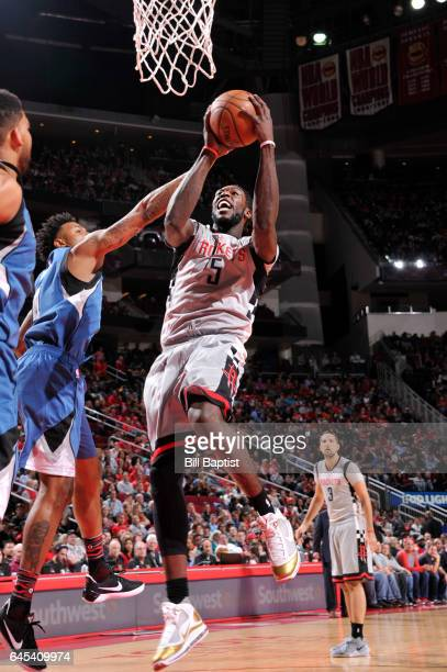Montrezl Harrell of the Houston Rockets goes up for a shot during a game against the Minnesota Timberwolves on February 25 2017 at the Toyota Center...