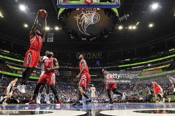 Montrezl Harrell of the Houston Rockets grabs the rebound against the Orlando Magic on January 6 2017 at the Amway Center in Orlando Florida NOTE TO...
