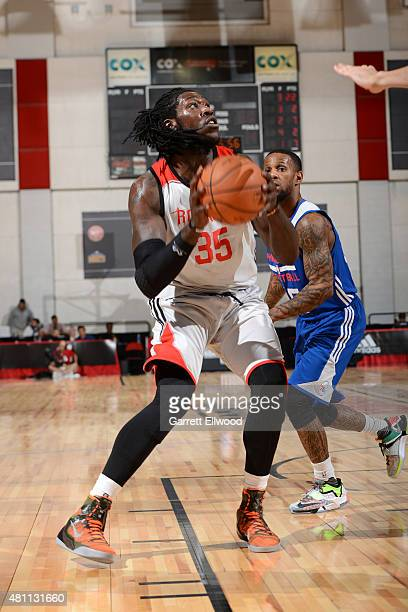Montrezl Harrell of the Houston Rockets handles the ball against the Philadelphia 76ers during the 2015 NBA Las Vegas Summer League game on July 17...