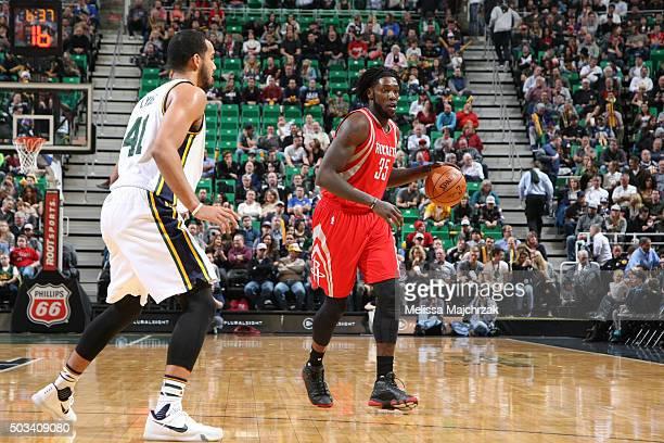 Montrezl Harrell of the Houston Rockets handles the ball against the Utah Jazz on January 4 2016 at vivintSmartHome Arena in Salt Lake City Utah NOTE...