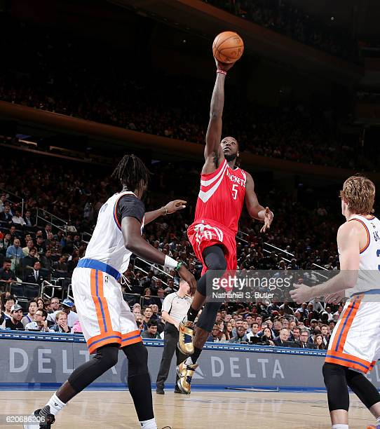Montrezl Harrell of the Houston Rockets shoots the ball against the New York Knicks on November 2 2016 at Madison Square Garden in New York City New...
