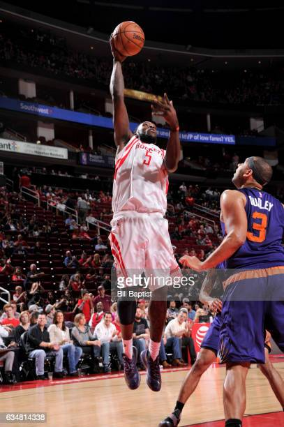 Montrezl Harrell of the Houston Rockets shoots the ball against the Phoenix Suns on February 11 2017 at the Toyota Center in Houston Texas NOTE TO...