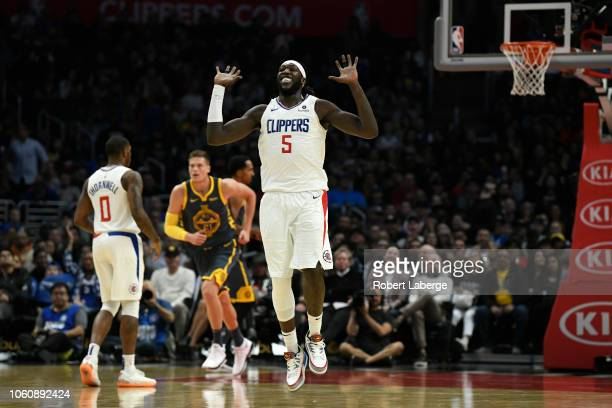 Montrezl Harrell of the Los Angeles Clippers celebrates after scoring a basket against the Golden State Warriors on November 12 2018 at STAPLES...