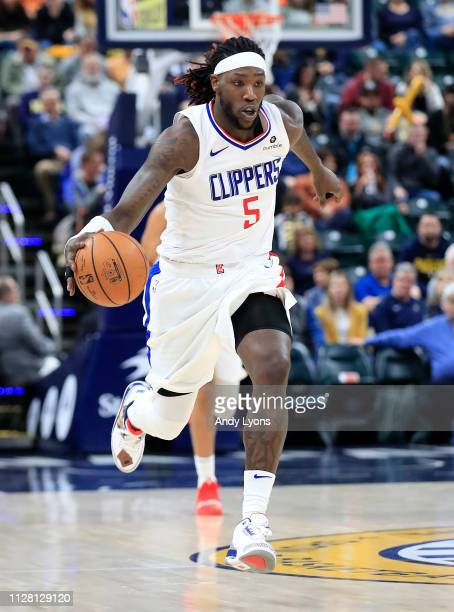Montrezl Harrell of the Los Angeles Clippers dribbles the ball against the Indiana Pacers at Bankers Life Fieldhouse on February 07 2019 in...