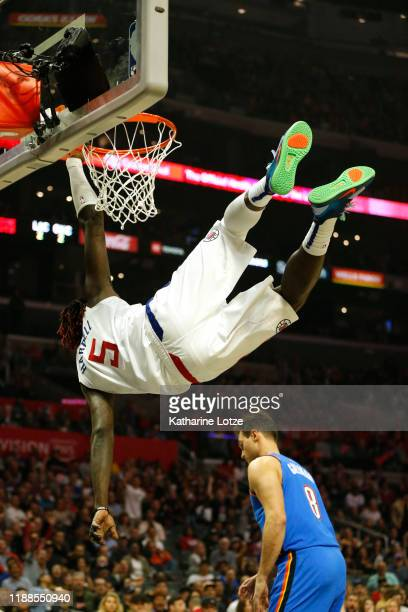 Montrezl Harrell of the Los Angeles Clippers dunks the ball during the second half against the Oklahoma City Thunder at Staples Center on November 18...
